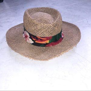 Panama Jack Floral Beach Hat Straw Beach Vacation